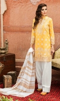 Shirt Front: Embroidered Lawn Shirt Back Dyed Lawn Sleeves: Embroidered Lawn Dupatta: Khadi Shawl Daman Patch: Organza Embroidered Sleeves Lace: Organza Embroidered Trouser: Dyed Cambric