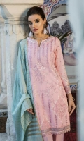 Shirt Front: Embroidered Lawn Shirt Back: Embroidered Lawn  Sleeves: Embroidered Lawn  Dupatta: Dyed Khadi Shawl Sleeves Lace: Organza Embroidered Daman Lace: Organza Embroidered Trouser: Dyed Cambric