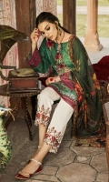 Shirt Front: Embroidered Lawn Shirt Back: Embroidered Lawn Sleeves: Embroidered Lawn Dupatta: Digital Printed Chiffon Sleeves Lace: Organza Embroidered Daman Lace: Organza Embroidered Trouser: Dyed ...