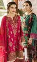 Shirt Front Panel: Embroidered Lawn Shirt Back Panel: Embroidered Lawn Shirt Side Panels: Embroidered Lawn Sleeves: Lawn Embroidered Embroidered Chiffon Front & Back Daman Lace: Organza Embroidered Sle...