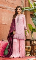 Shirt Front: Embroidered Lawn Shirt Back Dyed Lawn Sleeves: Embroidered Lawn Dupatta: Dyed Khadi Shawl Neck Line: Organza Embroidered Daman Lace: Organza Embroidered Sleeves Lace: Organza Emb...