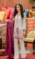 Shirt Front: Embroidered Lawn Shirt Back Embroidered Lawn Sleeves: Embroidered Lawn Dupatta: Dyed Lawn Khadi Jacquard Shawl Neck Lace: Organza Embroidered Daman Lace: Organza Embroidered Sl...