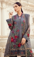 Shirt Front Panel: Embroidered Chiffon Shirt Side panel: Embroidered Chiffon Shirt Back: Embroidered Chiffon Sleeves: Embroidered Chiffon Dupatta: Embroidered Net Dupatta Pallu: Embroidered Net Dupatta Lace: Embroidered Ne...