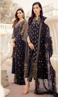 Shirt Front: Sequins Embroidered Chiffon Shirt Back: Dyed Chiffon Sleeves: Sequins Embroidered Chiffon Dupatta: Sequins Embroidered Chiffon Neckline: Sequins Embroidered Chiffon with Ada Work  Sleeves Lace: Sequins Embroidered ...