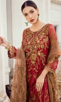 Shirt Front: Sequins Embroidered Chiffon with Ada Work  Shirt Back: Embroidered Chiffon  Sleeves: Sequins Embroidered Chiffon  Dupatta: Sequins Embroidered Net Sleeves Lace: Sequins Embroidered Organza  Daman Lace: Sequins Embr...