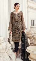 Shirt Front: Sequins Embroidered Chiffon  Shirt Back: Dyed Chiffon Sleeves: Sequins Embroidered Chiffon Dupatta: Jammawar Dyed Shawl Neckline: Sequins Embroidered Organza Sleeves Lace: Sequins Embroidered Organza  Front & B...