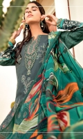 Shirt Front: Embroidered Lawn Shirt Back & Sleeves: Digital Printed Lawn Dupatta: Digital Printed Chiffon Trouser: Dyed Cambric Neck Line: Embroidered Organza