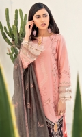 Shirt Front: Embroidered Lawn Shirt Back: Dyed Lawn Sleeves: Embroidered Lawn Dupatta: Embroidered Cotton Net Trouser: Dyed Cambric Sleeve Lace: Embroidered Organza Daman Lace: Embroidered Lawn