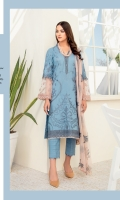 Shirt Front: Embroidered Lawn Shirt Back: Dyed Lawn Sleeves: Embroidered Lawn Dupatta: Embroidered Chiffon Trouser: Dyed Cambric Neck Lace: Embroidered Organza Sleeve Lace: Embroidered Organza Daman Lace: Embroidered Organza