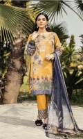 Shirt Front: Digital Printed Embroidered Lawn Shirt Back & Sleeves: Digital Printed Lawn  Dupatta: Digital Printed Chiffon  Daman Lace: Organza Embroidered Trouser: Dyed Cambric  Trouser Lace: Organza Embroi...