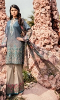 Shirt Front: Digital Printed Lawn Shirt Back & Sleeves: Digital Printed Lawn  Dupatta: Digital Printed Chiffon  Neckline: Organza Embroidered Daman Lace: Organza Embroidered Trouser: Dyed Cambric  Trou...