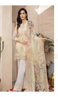 Shirt Front Back & Sleeves: Digital Printed Lawn Shirt Back & Sleeves: Digital Printed Lawn  Dupatta: Digital Printed Chiffon  Neck Lace: Organza Embroidered Daman Patch: Organza Embroidered Trouser: Dyed Cambr...