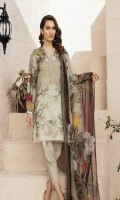 Shirt Front: Digital Printed Embroidered Lawn Shirt Back & Sleeves: Digital Printed Lawn Dupatta: Digital Printed Chiffon  Neck Lace: Organza Embroidered Trouser: Dyed Cambric