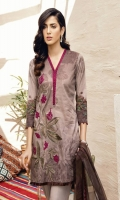 Shirt Front: Digital Printed Embroidered Lawn Shirt Back & Sleeves: Digital Printed Lawn Dupatta: Digital Printed Chiffon  Neck Lace: Organza Embroidered Trouser: Dyed Cambric Trouser Lace: Organza Embro...