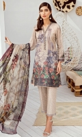Shirt Front Back & Sleeves: Digital Printed Lawn Dupatta: Digital Printed Chiffon Neck Lace: Organza Embroidered Daman Lace: Organza Embroidered Trouser: Embroidered Cambric