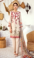 Shirt Front: Digital Printed Embroidered Lawn Shirt Back & Sleeves: Digital Printed Lawn Dupatta: Digital Printed Chiffon Trouser: Embroidered Cambric