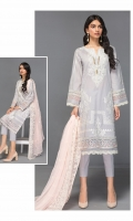 Shirt Front: Embroidered Lawn Shirt Back: Dyed Lawn Sleeves: Embroidered Lawn Dupatta: Embroidered Chiffon Trouser: Dyed Cambric Daman Lace: Embroidered Organza Sleeve Lace: Embroidered Organza