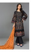 Shirt Front: Embroidered Lawn Shirt Back: Dyed Lawn Sleeve: Embroidered Lawn Dupatta: Embroidered Chiffon Trouser: Dyed Cambric Daman Lace: Embroidered Organza Sleeve Lace: Embroidered Organza