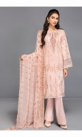 Shirt Front: Embroidered Jacquard Shirt Back: Dyed Jacquard Sleeves: Embroidered Jacquard Dupatta: Embroidered Chiffon Trouser: Dyed Cambric Neck Line: Embroidered Organza Sleeve Lace: Embroidered Organza