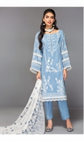 Shirt Front: Embroidered Lawn Shirt Back: Dyed Lawn Sleeves: Embroidered Lawn Dupatta: Embroidered Chiffon Trouser: Dyed Cambric Sleeve Lace: Embroidered Organza