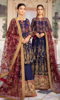 Frock Front& Back: Embroidered Chiffon Frock Front& Back Bodice: Embroidered Chiffon Sleeves: Embroidered Chiffon Dupatta: Embroidered Net Front & Back Lace: Embroidered Silk Sleeves Lace 1: Embroidered Silk Sleeves Lace 2: Embroidered Silk Dupatta Lace: Embroidered Silk (4-side) Trouser: Dyed Raw Silk