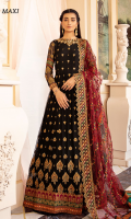 Frock Front & Back: Sequins Embroidered Chiffon Front Bodice: Sequins Embroidered Chiffon with Adda Work Back Bodice: Sequins Embroidered Chiffon Sleeves: Sequins Embroidered Chiffon Dupatta: Embroidered Net Front & Back Lace: Sequins Embroidered Silk Sleeves Lace: Embroidered Silk with Adda work Dupatta Pallu: Sequins Embroidered Net Dupatta Lace: Sequins Embroidered Organza (4-side) Trouser: Dyed Raw Silk