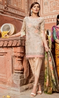 Shirt Front: Lawn Embroidered Shirt Back & Sleeves: Lawn Printed Daman Patch: Organza Embroidered Dupatta: Printed Chiffon Trouser: Printed Cambric