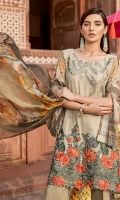 Shirt Front: Lawn Embroidered Shirt Back & Sleeves: Lawn Printed Daman Patch: Organza Embroidered Dupatta: Printed Chiffon Trouser: Dyed Cambric Trouser Patch: Organza Embroidered