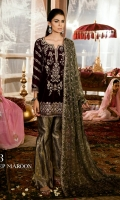 Shirt Front: Velvet Embroidered Shirt Back: Plain Velvet Sleeves: Velvet Embroidered Dupatta: Sequins Embroidered Chiffon Sleeves & Back Lace: Raw Silk Embroidered Daman Lace: Raw Silk Embroidered Trouser: Jammawar