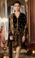 Shirt Front: Velvet Embroidered Shirt Back: Plain Velvet Sleeves: Velvet Embroidered Dupatta: Chiffon Embroidered Neck Lace: Organza Embroidered Sleeves Lace: Velvet Embroidered Trouser: Jammawar