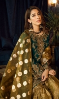 Shirt Front: Embroidered Velvet Shirt back: Embroidered Velvet Sleeves: Embroidered Velvet Dupatta: Organza Jammawar Shawl Sleeves Lace: Embroidered Silk Front & Back Lace: Embroidered Velvet Trouser: Dyed Jammawar