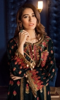Shirt Front Panel: Embroidered Velvet Shirt Back Panel: Embroidered Velvet Shirt Side Panels: Embroidered Velvet Sleeves: Embroidered Velvet Dupatta: 2 Tone Masuri Net Dupatta Lace: Embroidered Silk (4 Sides) Sleeves Lace: Embroidered Silk Front & Back Lace: Embroidered Silk Trouser: Dyed Jammawar