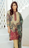 Shirt: Digital Printed Embroidered Dupatta: Printed Chiffon Trouser: Printed Cambric Trouser Patch: Organza Embroidered