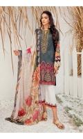 Shirt Front, Back & Sleeves: Digital Printed Lawn Dupatta: Digital Printed Chiffon Daman Lace: Embroidered Organza Neckline: Embroidered Organza Trouser: Dyed Cambric