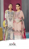 IFL -04 Vaporous White Shirt Front Back & Sleeves: Digital Printed Lawn Dupatta: Digital Printed Chiffon  Neck Line: Organza Embroidered  Trouser: Dyed Cambric  Trouser Lace: Organza Embroidered  IFL -06 Cream Pink Shirt Front Back & Sleeves: Digital Printed Lawn Dupatta: Digital Printed Chiffon  Neck Line : Organza Embroidered Daman Lace: Organza Embroidered Trouser: Dyed Cambric