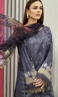 Shirt Front: Digital Printed Embroidered Lawn Shirt Back & Sleeves: Digital Printed Lawn Dupatta: Digital Printed Chiffon  Trouser: Dyed Cambric  Trouser Lace: Organza Embroidered