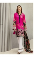 Shirt Front Back & Sleeves: Digital Printed Lawn Dupatta: Digital Printed Chiffon  Neck Lace: Organza Embroidered Daman Lace: Organza Embroidered Trouser: Dyed Cambric  Trouser Lace: Organza Embroidered