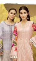 IFL -07 Apricot Blush Shirt Front: Digital Printed Embroidered Lawn Shirt Back & Sleeves: Digital Printed Lawn Dupatta: Digital Printed Chiffon  Neck Lace: Organza Embroidered Trouser: Dyed Cambric  IFL -10 Lavender Frost Shirt Front Back & Sleeves: Digital Printed Lawn Dupatta: Digital Printed Chiffon  Neck Lace: Organza Embroidered Daman Lace: Organza Embroidered Trouser: Dyed Cambric  Trouser Lace: Organza Embroidered