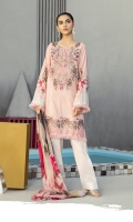 Shirt Front Back & Sleeves: Digital Printed Lawn Dupatta: Digital Printed Chiffon  Neck Line : Organza Embroidered Daman Lace: Organza Embroidered Trouser: Dyed Cambric
