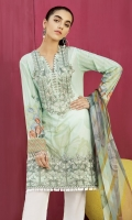 Shirt Front Back & Sleeves: Digital Printed Lawn Dupatta: Digital Printed Chiffon  Neck Line: Organza Embroidered Daman Lace: Organza Embroidered Trouser: Dyed Cambric  Trouser Lace: Organza Embroidered