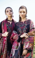 Shirt Front: Embroidered Jacquard (1.15 Meters) Shirt Back: Embroidered Jacquard (1.15 Meters) Sleeves: Dyed Jacquard (0.6 Meters) Dupatta: Digital Printed Pure Medium Silk (2.5 meters) Front & Back Daman Lace: Embroidered Lawn (1.8 meters) Sleeves Lace: Embroidered Lawn (1 meter) Trouser: Embroidered Cambric (2.5 Yards)