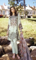 Shirt Front: Digital Printed Embroidered Lawn (1.15 Meters) Shirt Back & Sleeves: Digital Printed Lawn (1.8 Meters) Dupatta: Embroidered Chiffon (2.5 meters) Daman Lace: Embroidered Organza (0.9 Meters) Trouser: Dyed Cambric (2.5 meters)