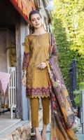 Shirt Front: Embroidered Lawn (1.25 Meters) Shirt Back & Sleeves: Dyed Lawn (1.68 Meters)) Dupatta: Digital Printed Pure Medium Silk (2.5 meters) Front & Back Daman Lace: Embroidered Lawn (1.8 meters) Sleeves Lace: Embroidered Lawn (1 meter) Trouser: Dyed Cambric (2.5 meters)