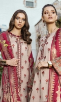 Shirt Front & Back: Embroidered Lawn with Laces (2.6 M) Sleeves: Embroidered Boring Lawn (0.6 M) Dupatta: Cotton Jacquard Shawl (2.5 meters) Sleeves Lace: Embroidered Organza (1 meter) Trouser: Dyed Cambric (2.5 meters)