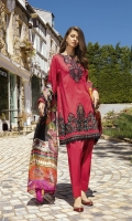 Shirt Front Back & Sleeves: Dyed Jacquard (3.25 meters) Dupatta: Digital Printed Pure Medium Silk (2.5 meters) Neck Line: Embroidered Lawn Sleeves Patch: Embroidered Lawn Shirt Front Daman: Embroidered Lawn Shirt Back Lace: Embroidered Lawn (0.9 meter) Front & Back Lace: Embroidered Lawn (1.9 meters) Trouser: Dyed Cambric (2.5 meters)