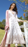 Shirt Frock Front & Back: Embroidered Lawn (2.6 meters) Frock Front Bodice: Embroidered Lawn (0.6 meter) Frock Back Bodice: Embroidered Lawn (0.6 meter) Sleeves: Embroidered Lawn (0.7 meter) Dupatta: Embroidered Cotton Net (2.5 meters) Sleeves Lace: Embroidered Organza (1 meter) Dupatta Lace: Embroidered Organza (4 Sides) (7.6 meters) Trouser: Dyed Cambric (2.5 meters)