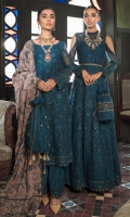 Frock Front: Embroidered Chiffon Frock back: Embroidered Chiffon Frock Front & Back Bodices: Embroidered Chiffon Sleeves: Embroidered Chiffon Dupatta: Embroidered Velvet Shawl Sleeves Lace: Embroidered Organza Front & Back Lace: Embroidered Organza Dupatta Pallu: Embroidered Silk Trouser: Dyed Raw Silk