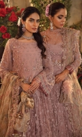Frock Front: Embroidered Net (2.1 y) Frock Back: Embroidered Net (2.1 y) Frock Front Body: Embroidered Net with Adda Work (0.70 y) Frock Back Body: Embroidered Net (0.70 y) Sleeves: Borer Embroidered Net with Adda Work (0.70) Front & Back Lace : Embroidered Silk (4.2 y) Sleeves Lace: Borer Embroidered Organza (1.4 y) Dupatta: Embroidered Net (2.1 y) Dupatta Pallu: Embroidered Net (2 piece) Sleeve Patch: Dyed Jamawar (1 y) Trouser: Dyed Raw Silk (2.5 y)