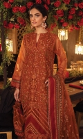 Shirt Front: Embroidered Net with Adda Work (0.85 y) Shirt Back: Embroidered Net (0.85 y) Sleeves: Embroidered Net (0.70 y) Shirt Front Patch : Embroidered Organza (1 piece) Front, Back and Sleeve Lace 1: Embroidered Organza (2.75 y) Front, Back and Sleeve Lace 2: Embroidered Organza (2.75 y) Front Back Lace 3: Embroidered Organza (1.70 y) Dupatta: Embroidered Net (2.75 y) Dupatta Lace: Embroidered Organza (4 sided) (8.5 y) Trouser: Dyed Raw Silk (2.5 y)