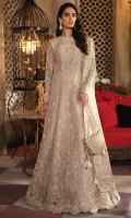 Frock Front & Back: Embroidered Net (2.75 y) Frock Front Body: Embroidered Net (0.85y) Frock Back Body: Embroidered Net (0.85 y) Sleeves: Embroidered Net (0.85 y) Front & Back Lace : Embroidered Organza (2.75 y) Sleeves Lace: Embroidered Organza (1 y) Dupatta: Embroidered Zari Organza (2.1 y) Dupatta Pallu 1: Embroidered Organza(2.75 y) Dupatta Pallu 2: Embroidered Organza(2.75 y) Dupatta Pallu 3: Embroidered Organza(2.75 y) Dupatta Lace: Embroidered Organza (4 sided) (8.5 y) Trouser: Dyed Raw Silk (2.75 y) Shirt Inner: Pure tissue (3 y)